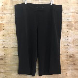 Lane Bryant Black Wide Leg Crop Trousers Size 24